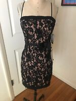 City Studio Strap Dress Black Lace Overlay Cocktail Party Prom NEW NWT 7 Jr. $69