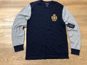 mens polo ralph lauren crewneck sleepwear long sleeve thermal shirt 90s crest