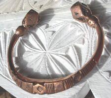 NIGER TUAREG Brillant Large Main Gravé HEAVY COPPER Bracelet + Diamants