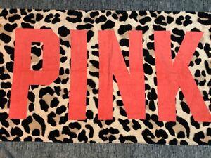 Victoria's Secret Pink Leopard Beach Bath Towel Coral Logo Rare NWT