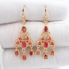 18K Yellow Gold Filled Women Red Mystic Topaz Chandelier Earrings Jewelry