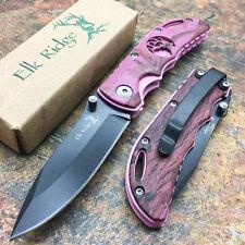 Elk Ridge Pink Trim w/ Purple Overlay Collection Outdoor Gentlemen Pocket Knife
