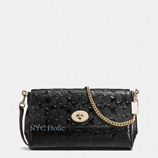 New Coach F55452 Ruby Crossbody Signature Debossed Patent Leather Black NWT