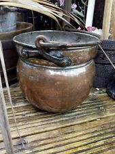 Antique Solid Copper Pail Bucket Pot Hand Hammered Silver Plate 2.2kg