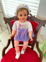 """Vtg Hand Crocheted Purple Rainbow  Outfit (DOLL NOT INCLUDED) Fits 18-24"""" Dolls"""