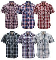 Men's Western Short Sleeve Button Down Casual Plaid Pearl Snap Cowboy Shirt