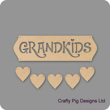 Grandkids Cut Out Letters With 5 Hanging Hearts - 3mm MDF Wooden Craft Plaque
