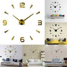 Modern Large Mirror Surface Art Wall Clock Sticker 3D DIY Home Office Roo tpss,