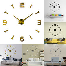 3D Modern Large DIY Mirror Surface Art Wall Clock Sticker Home Office Room Decor