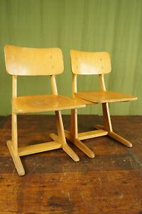 50er casala Child's School Chair Children's Vintage Desk Wood 60er 1/2 B