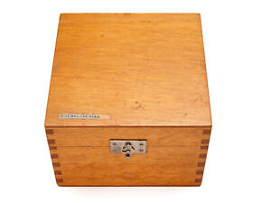 Leitz Heine microscope condenser wooden accessory box, nice clean interior!