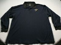 Vintage St. Louis Blues Long Sleeve Polo Shirt 2XL Gear NHL Hockey Rugby