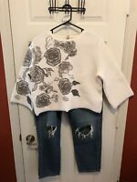 Re-Set Crop Floral Sweater Cream Black Zip Back Stretchy Made In Italy Size 44