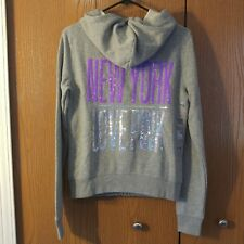 Victoria's Secret PINK Sequin Bling New York Full Zip Hoodie Small RARE NWT