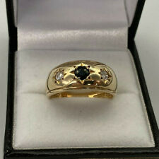 9ct Gold Hallmarked Sapphire & Cubic Zirconia Gypsy Ring.  Goldmine Jewellers.