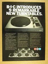1978 B-I-C BIC Turntables 9 New Models turntable photo vintage print Ad