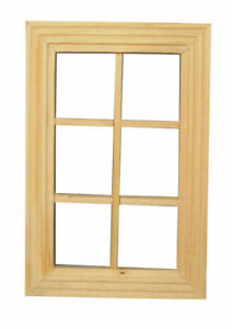 6 Pane Wood Window, Dolls House Miniature, DIY Fixture