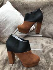 FAITH soft faux leather suede platform boots UK 5 38 RRP £58 TAN BLACK