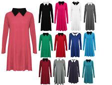 Womens Ladies Peter Pan Collar Long Sleeve Flared Swing Dress Top Plus Size 8-26