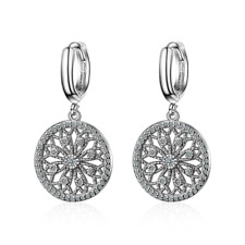 New Fashion 925 Sterling Silver CZ Cubic Zirconia Round Dangle Hoop Earrings