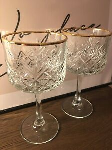 2 X Timeless Vintage Style Gin Wine Gold Rim Goblet Cocktail Chalice Cut Glasses