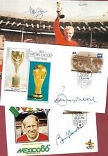 SIGNED COVERS & PHOTO - ENGLAND 1966 WORLD CUP - BOBBY MOORE CHARLTON ALAN BALL.