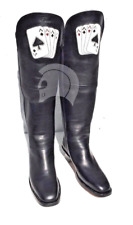 Ace Of Spades Curly Bill Cavalry Boots 100% Premium Leather Black Men's 7-14