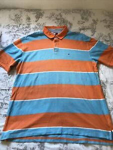 TOMMY HILFIGER TURQUOISE/ORANGE POLO TSHIRT Size XXL Cotton Shirt