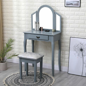 AVC Designs 1 Drawer Dressing Table Bedroom Vanity Unit, Oval Mirror & Stool Set