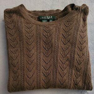 Ladies Ralph Lauren Long Sleeve Cotton Crew Neck Top Brown Knit Pattern