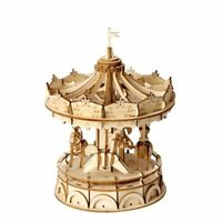 Merry-Go-Round Carousel 3D Wooden Puzzle Model Kit DIY Craft Robotime UK Seller