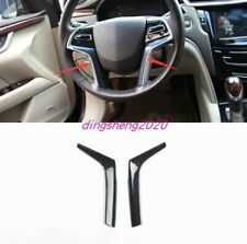 Carbon fiber style Steering Wheel Decoration Cover Trim For Cadillac XTS 13-2017