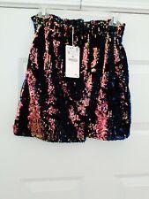 Zara Knitwear Collection NWT Velvet & Mult Color Sequin Skirt Med