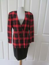 Vtg Michelle Stuart Red & Black Check Big Shoulder Jacket & Skirt Suit Sz 8