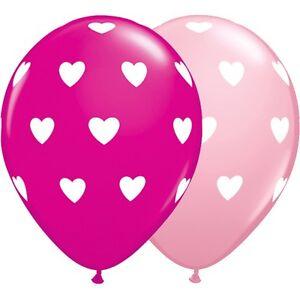 Big Hearts Pink latex balloons x 5. Baby Shower, New Baby Girl, Princess Party