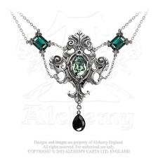 Queen of The Night Ornate Necklace Green Black Crystals Alchemy Gothic P503