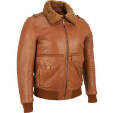 New Mens M Wilsons Leather Jacket Coat Bomber Brown Removable Fur Collar Lined