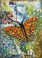 "Miniature Art Artist Trading Cards  Original Painting Butterfly   2.5"" X 3.5"""