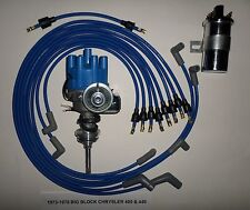 CHRYSLER 440 1973-78 BLUE Small ELECTRONIC Distributor+45K Coil+Spark Plug Wires