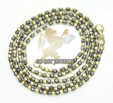 "20"" 2mm 7 Grams 14K Black Yellow Gold Italian Bead Ball Chain Necklace Ladies"