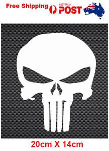 Punisher sticker skull vinyl car bike laptop 20cm X 14cm white 5 years + outdoor