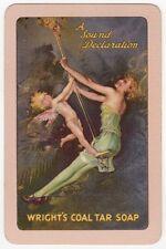 Playing Cards 1 Single Swap Card Vintage COAL TAR SOAP Lady Girl + FAIRY Advert