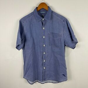 Tommy Bahama Mens Linen Button Up Shirt Size Small Blue Short Sleeve 59.09