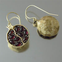 Exquisite 18K Gold Filled Pomegranate Ruby Dangle Hook Earrings Wedding Jewelry