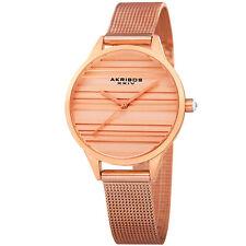 Womens's Akribos XXIV Ak1005RG Quartz Striated Rose-Tone Mesh Bracelet Watch