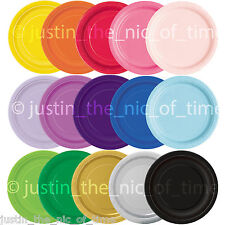 "ROUND Paper Party Plates 7"" & 9"" Plain Solid Colours Tableware Events Catering"