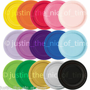 """ROUND Paper Party Plates 7"""" & 9"""" Plain Solid Colours Tableware Events Catering"""