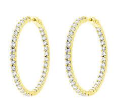 "4.02 ct Round cut Diamond 14k Yellow Gold HOOP Earrings 80 x 0.05 ct each, 1.5"""