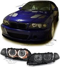 HEADLIGHTS DARK ANGEL EYES FOR BMW E46 98-01 SALOON SERIES 3 NEW LAMPS FARI