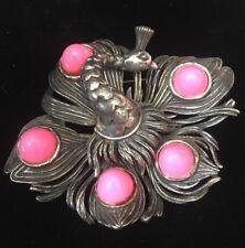 Vintage Silvertone Peacock Pin Pendant Pink Cabochon Brooch